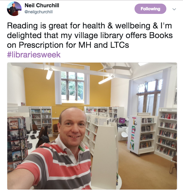 screenshot of tweet showing Dr Neil Churchill in his local library