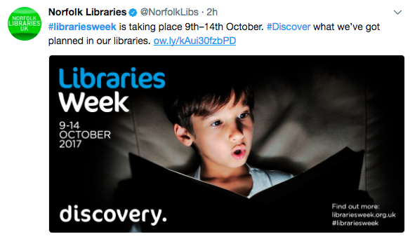 screenshot of tweet, showing Libraries week poster