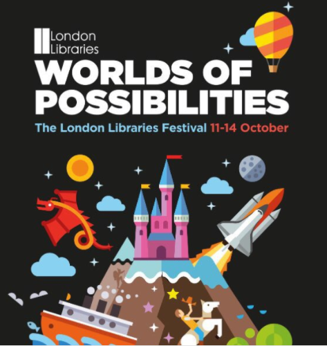 Worlds of Possibilities London Libraries festival poster