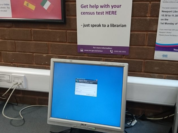 Signs in Ryde library.