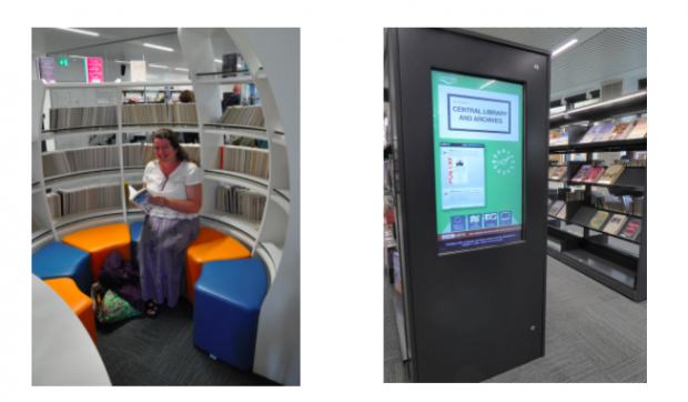 Photos of a woman sitting in a book pod and of an interactive screen in a library