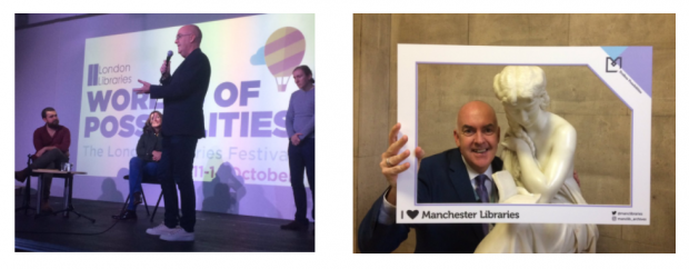 Neil MacInnes in Wimbledon library (left) and Manchester central library (right)
