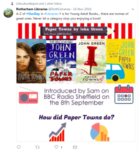 Sample tweet from Rotherham libraries A-Z which reads Y is for Young Adult Books... there are tones of great ones. Never let a category stop you enjoying a book!