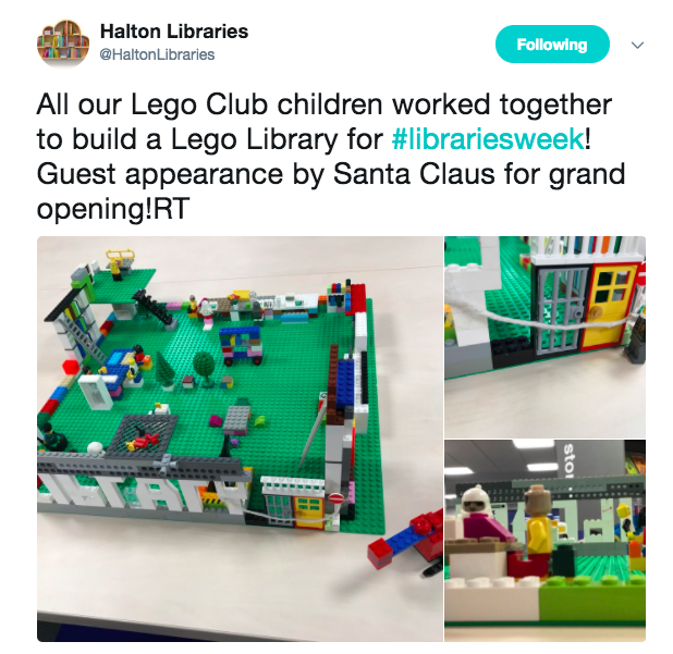 screenshot of tweet showing library built of lego