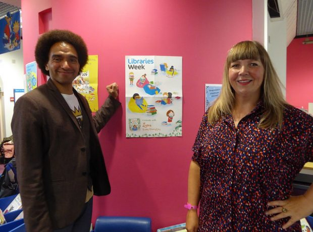 Joseph Coelho and illustrator Fiona Lumbers in Cheltenham library. Photo credit: Julia Chandler/Libraries Taskforce