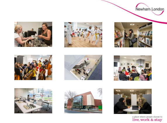 Photos taken from Cllr Clarke's presentation, showing the diversity of activities that take place in Newham's libraries