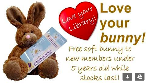 Advertising Rutland libraries offer of a free bunny to under 5s.