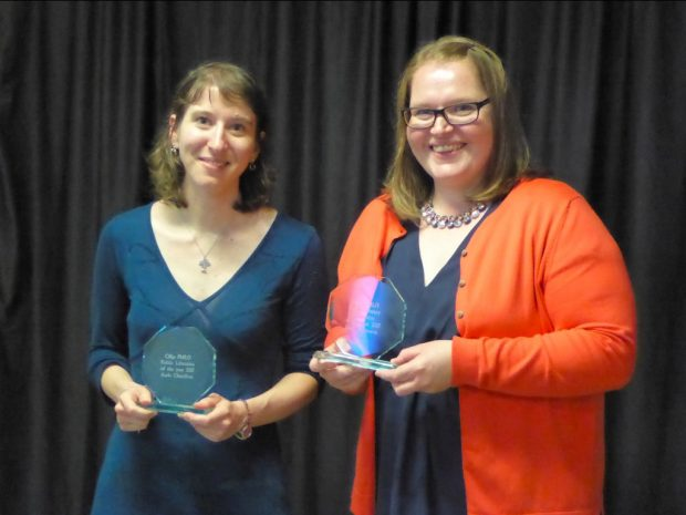 Award winners Aude Charillon (left) and Julie Thomson (right). Photo credit: Julia Chandler/Libraries