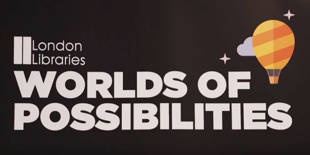 screengrab of the festival logo: London libraries: worlds of possibilities