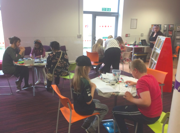 Activities underway in the Sheerness Digital Den. Photo credit: Sheerness Library