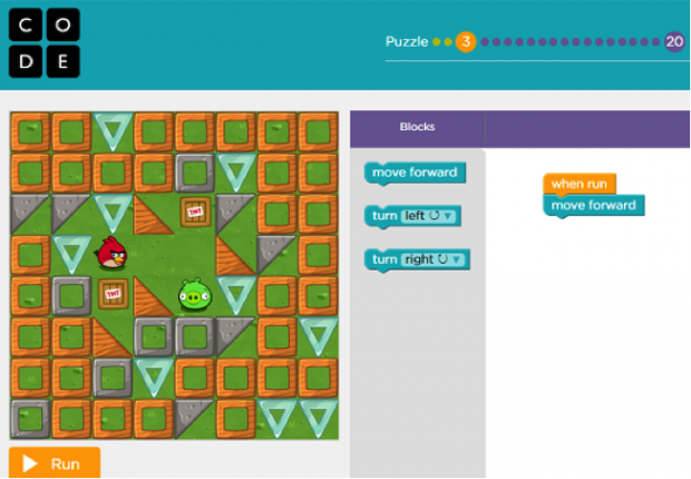 Screenshot from the Hour of Code site