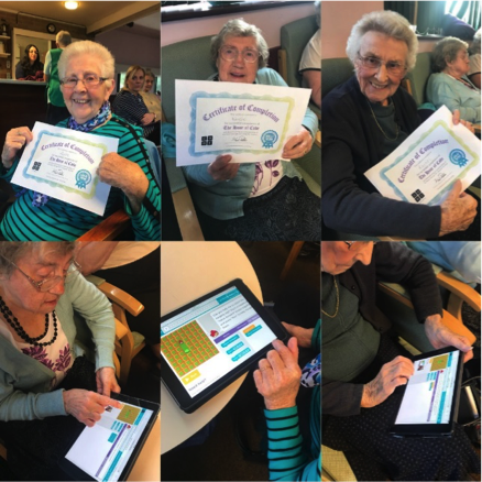 Photos of participants with their certificates and coding on tablets.