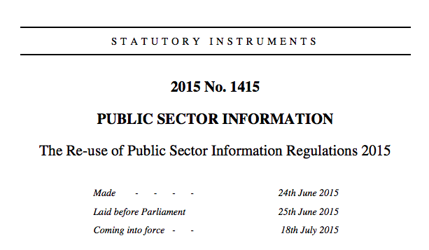 screenshot of the statutory instrument