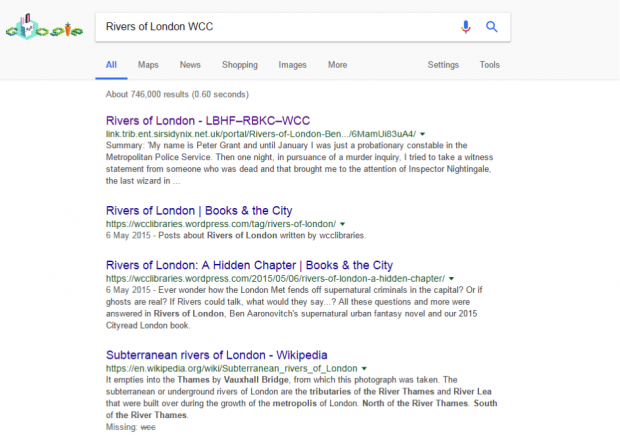 Screenshot - showing library catalogue entries for the book Rivers of London appearing in a google search result