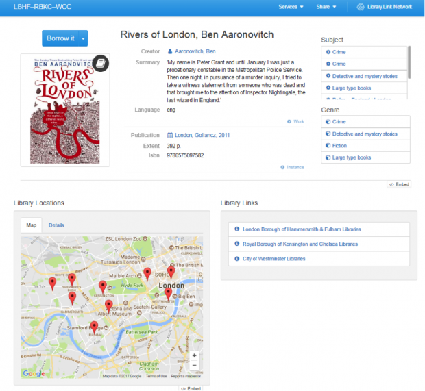 Screenshot of Library Link page of Rivers of London by Ben Aaronovitch. It has a picture of the book cover and map of libraries where the book is.