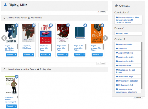 Screenshot illustrating entries for books by, and about, a person