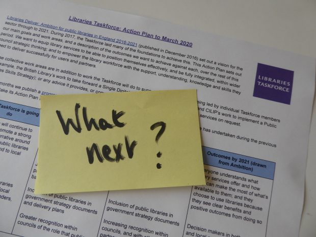 Photo of a post it note saying what next? on the Taskforce action plan