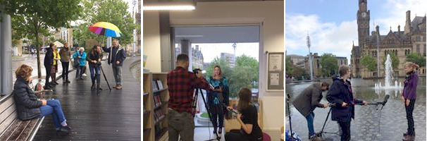 Poetry filming in Bradford. Photo credit: Dionne Hood/Bradford libraries