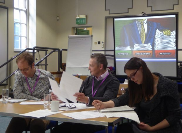 The panel in action in Lincoln. From left: Mick McGrath, Andy Wright and Victoria Barton (Arts Council England)