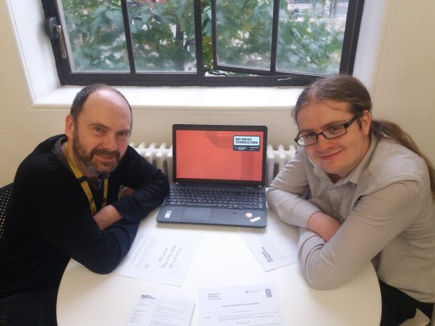 Ian Hargreaves and Andrew Bailey from the Big Ideas Generators team. Photo credit: Manchester libraries