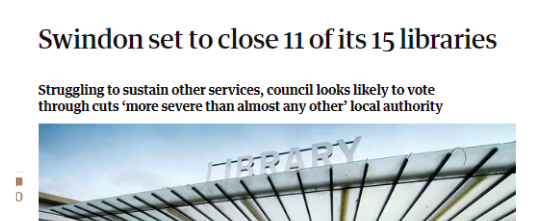 screenshot of newspaper headline about Swindon. The tagline reads struggling to sustain other services, council looks likely to vote through cuts 'more severe than almost any other' local authority.