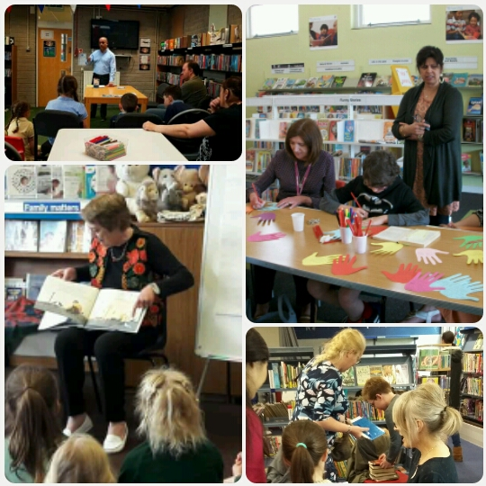 Image shows (from top left, clockwise) authors in libraries: Bali Rai in St Helens, Sita Brahmachari in Sheffield, Helen Moss in Essex and Gillian Cross in Devon. Photo credits are the library services in each area.