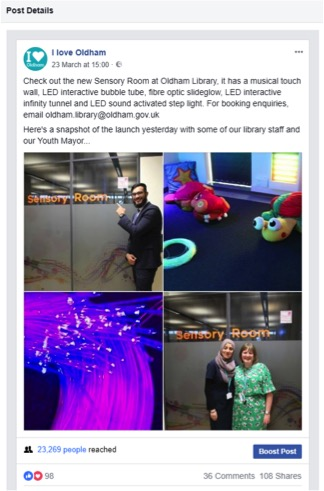 Screenshot of a Facebook post which has some photos of the sensory room