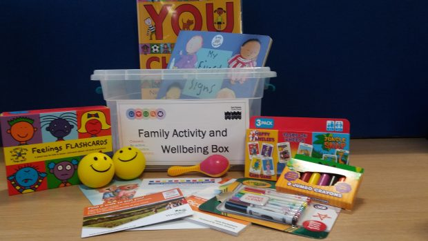 Photo of a family activity and wellbeing box which contains Feelings Flashcards, balls, books and colouring pens