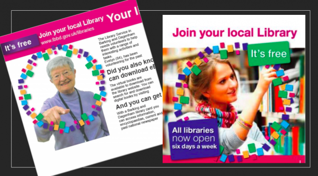 A selection of library publicity material