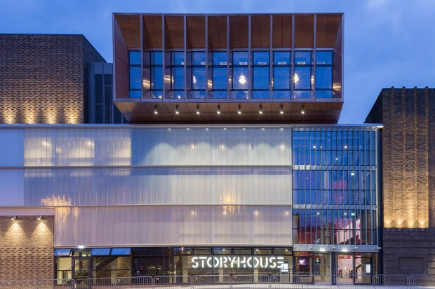 Photo of the modern extension to the Art Deco cinema at Storyhouse