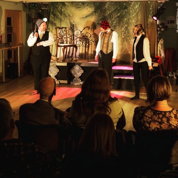Photo of Dracula in performance in Wisbech library.