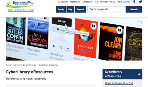 Screenshot from Bournemouth libraries eresources