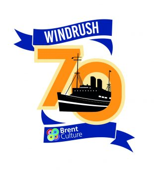 Windrush 70 logo - a large ship coming through the number 0