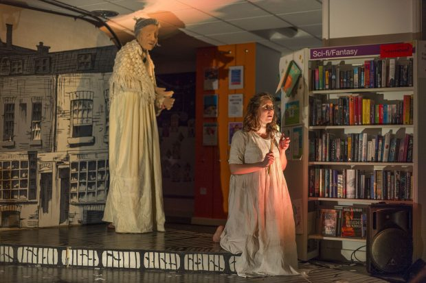 Photo of a performance of The Little Match Girl, in Ilfracombe library
