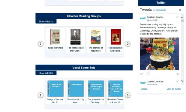 Screenshot from OPAC, showing the scrolling Books for Reading Groups banner