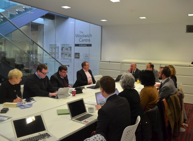 Photo of Alyn attending a meeting of the Libraries Taskforce in the Woolwich centre.