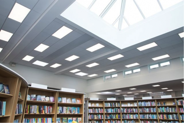 Beeston library – ceiling and skylight. Photo credit: Inspire