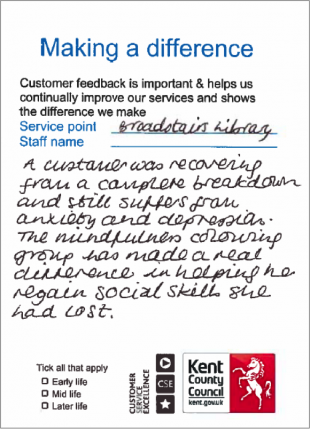 Filled in form used to collect feedback from library users.
