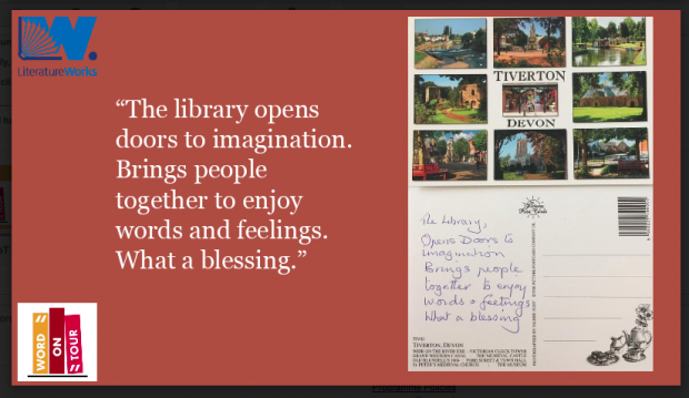 "Screenshot from a presentation which displays a selection of the cards. The quote reads ""The library opens doors to imagination. Brings people together to enjoy words and feelings. What a blessing."""