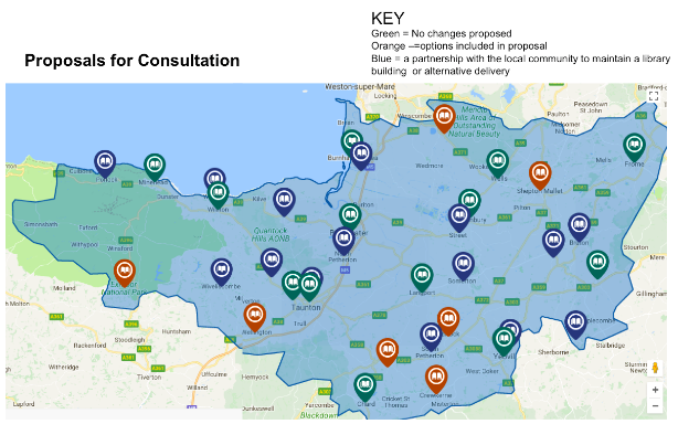 Map of Somerset libraries showing Somerset's proposals for consultation