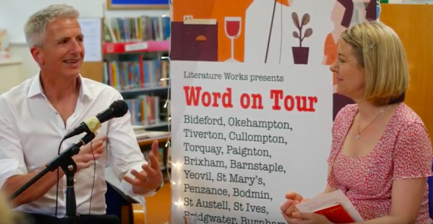 Patrick Gale and Julia Copus, in Nether Stowey library. Photo credit: from a film made by Literature works