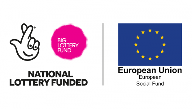 on the left hand side is the Big Lottery logo, which consists of an outline drawing of a hand with fingers crossed, and on the right hand side is the European Union flag - a circle of gold stars on a blue background - as the logo of the European Union Social Fund