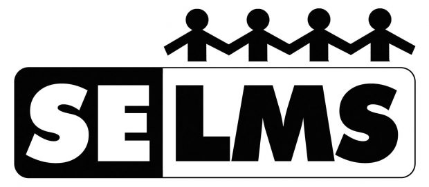 SELMS logo - capital letters, with a row of stick people holding hands