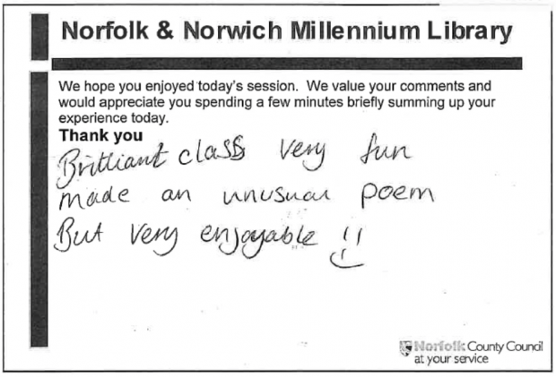 One of Norfolk libraries old data collection forms, with handwritten comments saying a class was very enjoyable