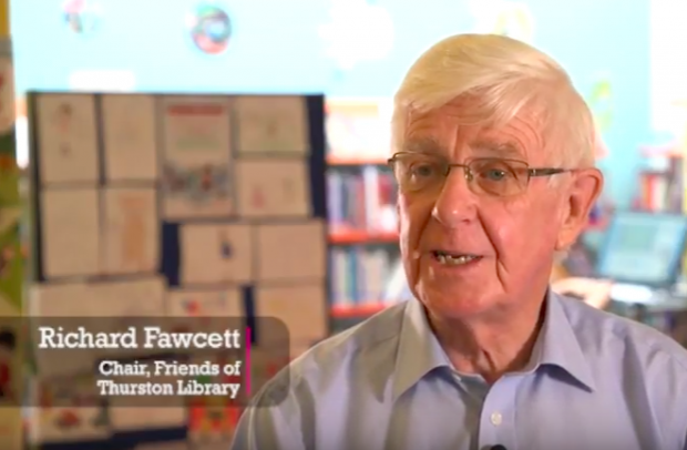 Richard Fawcett, chair of the Friends of Thurston library - shown in a screenshot from the video