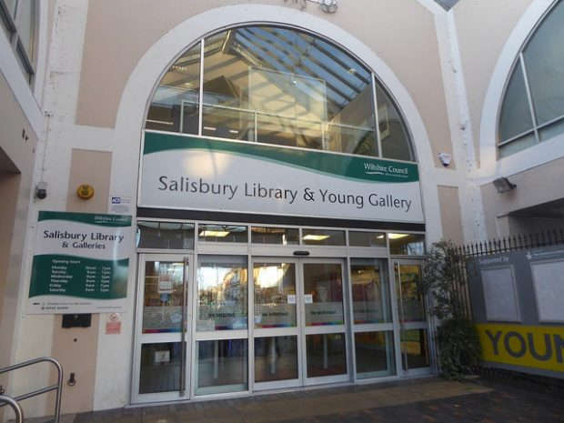 The front doors to Salisbury library