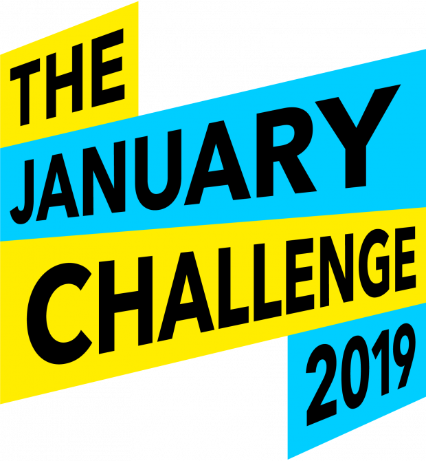 Logo for the January challenge 2019 - text over alternating bands of bright blue and yellow