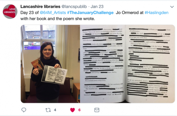 Screenshot of a tweet from Lancashire libraries including a photograph of a participant with her creation - a book in one hand, and the poem she wrote based on it in the other. The tweet reads Days 23 of @64M_Artists #TheJanuaryChallenge Jo Ormerod at#Haslingden with her book and the poem she wrote.