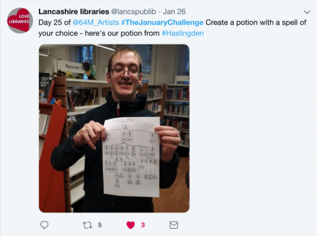 Screenshot of a tweet from Lancashire libraries - with a photo of one participant in the challenge and his creation: a poster with a description of how to make a magic potion. The tweet reads Day 25 of @64M_Artists #TheJanuaryChallenge Create a potion with a spell of your choice - here's our potion from #Haslingden