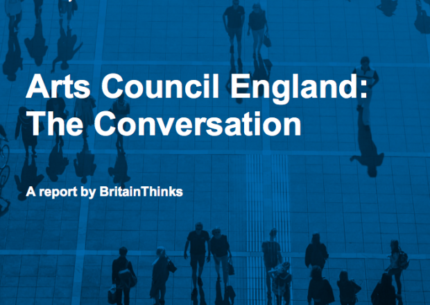 screenshot of the cover of the report - a blue picture showing faint outlines of human figures, overlaid with the words Arts Council England: the conversation